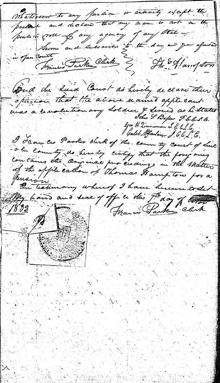 Thomas Hampton - Affidavit of Revolutionary Service